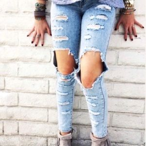 Carmar Distressed Destroyed Jeans Size 27